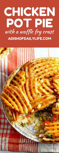 Chicken Pot Pie w Waffle Fry Crust - the kids will love the waffle fry crust and you will love the farm fresh ingredients! No canned soups. The recipe offers a freezer meal option.make one for dinner and one for the freezer! Healthy Chicken Pot Pie, Chicken Recipes, Potato Recipes, Sandwiches, Comfort Food, Cookies Et Biscuits, Dinner Recipes, Dessert Recipes, Cooking Recipes