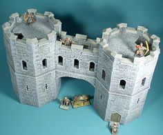 McGhiever's Fantasy Dioramas: Hirst Arts Castles Medieval Houses, Medieval Town, Medieval Castle, Wargaming Table, Wargaming Terrain, Heron Fountain, Model Castle, Castle Crafts, Hirst Arts