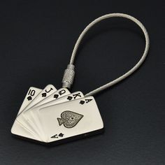 Poker 3D Stainless Steel Wire Key Ring Keychain Keyring Chain KC0240