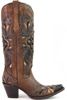Brown Cayman Boot with Black and Gold Overlay - Rural Haze Best Cowboy Boots, Western Boots, Motorcycle Boots, Brown, Overlay, Gold, Shoes, Black, Style