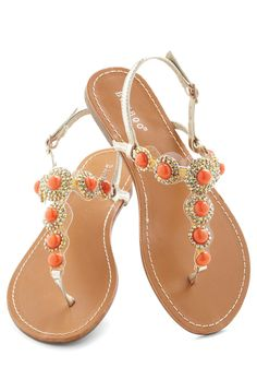 Coral That Jazz Sandal - Orange, Gold, Rhinestones, Luxe, Statement, Summer, Flat, Leather, Silver, Daytime Party, Beach/Resort @32.99
