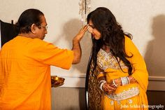 indian engagement ceremony bride tradition http://maharaniweddings.com/gallery/photo/10821