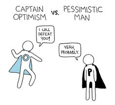 Captain Optimism vs. Pessimistic Man Poorly Drawn Lines by Reza Farazmand