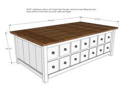 Ana White | Build a Apothecary Coffee Table with Toybox Trundle | Free and Easy DIY Project and Furniture Plans