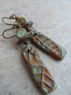 Twiggy  ... Ceramic Turquoise and Brass by juliethelen on Etsy