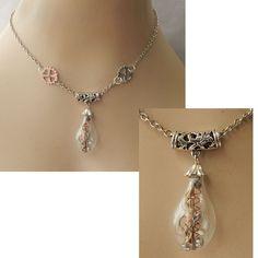Silver Steampunk Glass Vial & Gears Pendant Necklace Jewelry Handmade NEW  #Handmade #Pendant