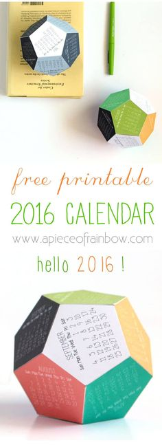 Make a 2016 printable calendar in 3D! Download free template for a unique dodecahedron desk calendar. Makes a great gift or Christmas tree ornament too!