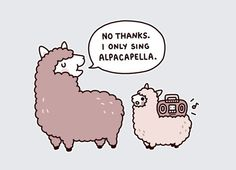 This is the best thing I have ever seen, I laughed way too hard at this. Alpacapella!music pun | Tumblr