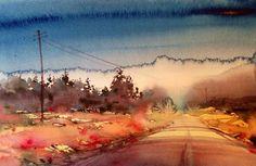 watercolor landscape - artist not identified