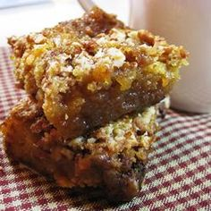 ♥ ♥ ♥ ♥ ♥ Pecan Pie Bars II ~ This Is Such A Yummy Treat! No One Will Ever Guess They Are Made Using A Cake Mix. Denise Shared This Recipe With Me! My Family Gives These Pecan Pie Bars, A Sweet 5 Heart Rating! ♥ ♥ ♥ ♥ ♥