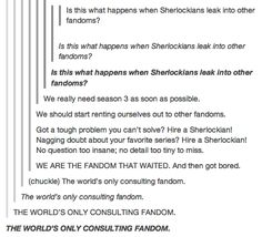 """The Sherlockians are bored again. That word, """"bored,"""" always makes me want to shoot a wall. Especially if the the wall had it coming."""