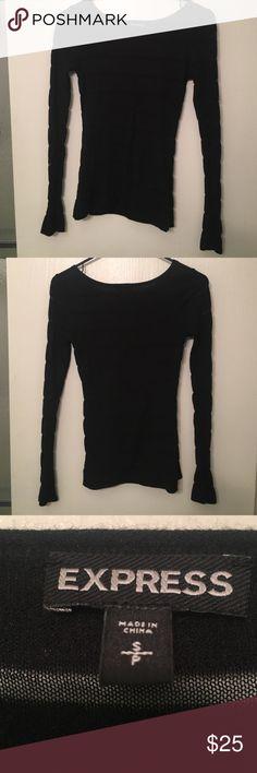 Long sleeved sheer express top Black long sleeved half sheer express top! Absolutely adorable, great closet staple. Express Tops Tees - Long Sleeve