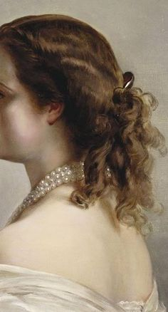 Portrait of Empress Eugénie by Franz Xaver Winterhalter, head detail.