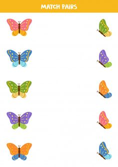 Match two pictures of butterfly by pairs... | Premium Vector #Freepik #vector #children English Worksheets For Kids, Kids Math Worksheets, Printable Worksheets, Fall Preschool Activities, Preschool Learning Activities, English Stories For Kids, Hand Crafts For Kids, Coding For Kids, Butterfly