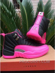 57beeb9d031e 2016 Air Jordan 12 GS Black Pink Shoes Hot