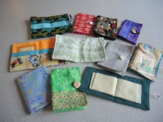 PATTERN 6 wallets - upcycled scrappy teabag wallet, needle book or travel sewing keeper- medium skill- pdf file
