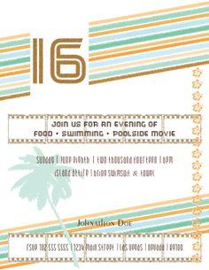 Custom Birthday Flyer - 16th Birthday Movie, Luau Party, Retro, Boy, Masculine, Tropical #custombirthdayinvitations #lasvegas #vegas #invitations #party #noveldesigns