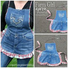 Turn old blue jeans into this fun denim apron! Perfect for cooking or crafting and make a great gift.