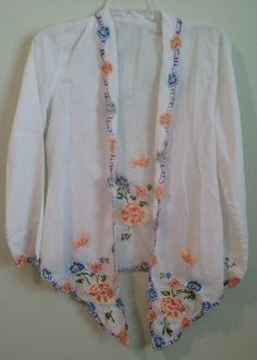 Kebaya Womens blouse white Top vintage sheer open floral wrap cardigan  | Clothing, Shoes & Accessories, Women's Clothing, Tops & Blouses | eBay!