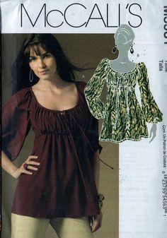 Sewing Pattern McCalls 5931 Womens Empire Waist Peasant Top 12 14 16 18 Uncut | eBay
