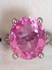 Judith Ripka Pink Oval Stone & Diamond Ring Sz 7