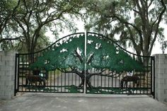 A great oak & grazing horses www.ornamentalgateworksetc.com