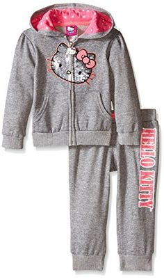 43eef2dbb3e32 Amazon.com: Hello Kitty Little Girls' Toddler 2 Piece Hoodie and Pant Set,  Gray/Pink, 2T: Clothing