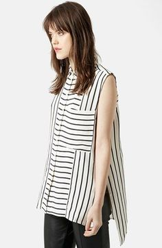 Topshop Mix Stripe Sleeveless Shirt available at #Nordstrom
