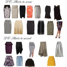 "Skirts for Dramatic Classic by wichy on Polyvore | NOTE: Kibbe wrote, ""Skirts should be straight and narrow. It is very important that your skirts are always flat from the hip to the upper thigh area. Small slits are excellent, as is any tailored detail such as pocket flaps, contrasting stitching, waistbands, etc. Hemlines can range from one inch below the knee to the top of the calf. The latter will need a slit. Longer is, of course, perfect for evening."""