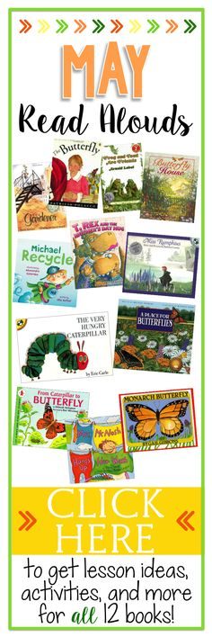 Twelve great children's books to read during the month of May. Books about Earth Day, Mother's Day, Spring, and so much more! Blog Post at Mrs. D's Corner for Books Teachers Love.