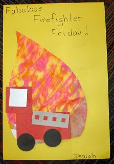 Cute fire and fire truck craft for Fire Safety Week
