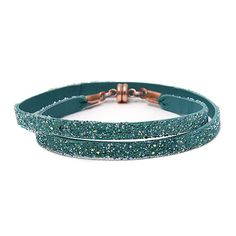 She.Rise Double Wrap Bracelet, Turquoise Multi. Double turquoise leather wrap with multicolor crystals, flecks of aurora borealis and a copper magnetic closure. Italian Leather, Swarovski Crystals and Copper Magnets. Handmade in USA. $50