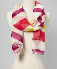 Mod Pink Frayed Stripe Scarf by Vince Camuto