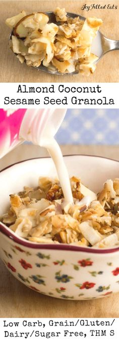 Almond Coconut Sesame Seed Granola - Low Carb, Grain/Dairy/Sugar-Free, THM S - Low Carb Granola Recipe with Almond Coconut & Sesame Seeds has the perfect crunch with just enough sweetness to sweeten your morning.