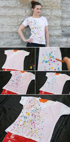 DIY Paint splatter t-shirt! (via Pearls and Scissors) - I Arted Shirt - Ideas of I Arted Shirt - DIY Paint splatter t-shirt! (via Pearls and Scissors) Paint Splatter Shirt, Fabric Paint Shirt, Paint Shirts, T Shirt Painting, Tie Dye Shirts, Diy Painting, Tshirt Painting Ideas, Fabric Painting On Clothes, Diy Clothing