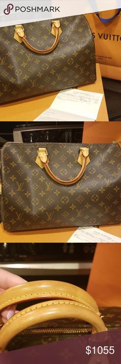100% Authentic Louis Vuitton Speedy 35 100% Authentic Louis Vuitton speedy 35. Comes with everything pictured. Perfect condition. Comes with lock key and key bag. I just need one with a strap I'm tired of the handle. Great bag..classic!💖 Priced higher due to tax I paid in Georgia.😨This bag now sells for $1,040 plus tax...this is a great deal!!! Louis Vuitton Bags Satchels
