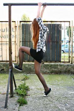 Black polka dots tights, white and black tartan shirt, and body con skirt