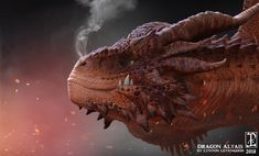 Altais was sculpted in Zbrush. I wanted to push the detail on this one. Done for my own learning. Dragon Head, Fire Dragon, Dragon Art, Dragon Anatomy, Legendary Dragons, Cool Dragons, Dragon Rider, Dragon Design, Monster Art
