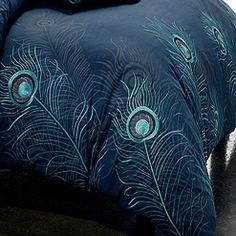 Peacock Feathers Comforter Set by Seasontex Bedding -King