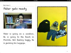 """""""Peter Goes on Vacation"""": PK-2 FREE iBook - great example for your students to emulate"""