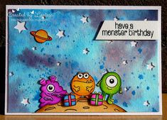 Clearly besotted stamps - Have a monster birthday!