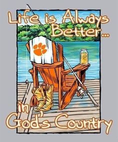 Life is always better in God's country! Clemson Tiger Paw, Clemson Football, Clemson Wallpaper, Clemson South Carolina, Tiger Love, Tiger Girl, Team Gear, Happy Colors, Orange And Purple