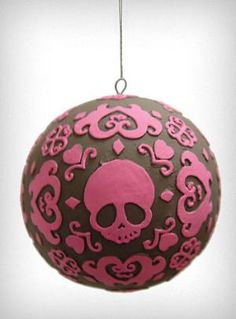 Tattooed Skull Ball Ornament | PLASTICLAND