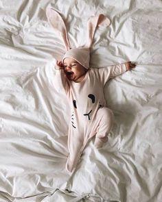 Pale Rose Hoppy Bunny Sleepsuit from Petit Patch. Photo by @masha_theone petitpatch.com