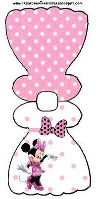 Imprimibles gratis de Minnie Mouse en fondo rosa con lunares blancos
