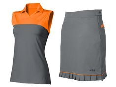Ladies golf fashion - Practical and light-weight skirt sets, like this one, are bright enough to stave off potentially hazardous flyovers while making a cute statement on the course.