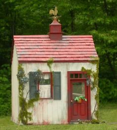 Teeny Tiny Cottage - I'd love this as a garden shed or a writing/reading retreat! Cute Small Houses, Cute Little Houses, Outdoor Buildings, Small Buildings, Build A Playhouse, Playhouse Ideas, Potting Sheds, Potting Benches, Cabins And Cottages