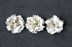 SIMPLY PAPER: Sugarplum Flowers I wonder if these could be used as earrings, mounted on posts. Could be made to match clothing! How To Make Paper Flowers, Paper Flowers Diy, Sugar Flowers, Paper Roses, Faux Flowers, Handmade Flowers, Flower Crafts, Fabric Flowers, White Flowers