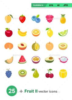 Lego Decals, Icon Design, Logo Design, Fruit Icons, Fruit Logo, Fruit Painting, Color Vector, Fruit Art, Food Illustrations