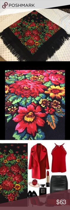 Beautiful vintage style scarf Vintage Russian Original Pavlovo Posad Wool Scarf with fringed edge.  Made in Russia, wool, soft and comfortable.  Scarf dimensions 46' x46'  Beautiful floral design on a rich black background.  This can be a perfect gift.  Paint that never fade.  Unique style.  Great vintage condition.  No holes, stains or discoloration.  Thanks for looking. pavlovo-posad Accessories Scarves & Wraps